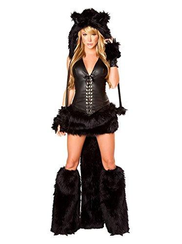 Jumpsuit Tier Fasching Halloween Kostüm schwarze Katze Mädchen Cosplay Damen (Adult Kätzchen Kostüme)
