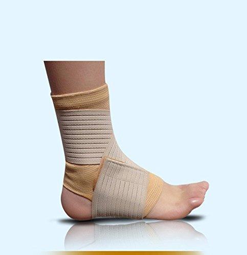 YUN MY GIRL 1 Stück Fußball Basketball Taekwondo Badminton Knöchelbandage Elastische Knöchel Verstauchung Klammer Wrap Straps Protector Fußkettchen (Color : Beige) - Tubigrip Elastisch