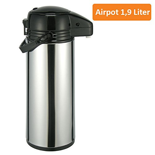 Airpot 1,9/2,2/3 L Pumpkanne - Isolierkanne Thermo Kanne Kaffeekanne Edelstahl 1,9 Liter