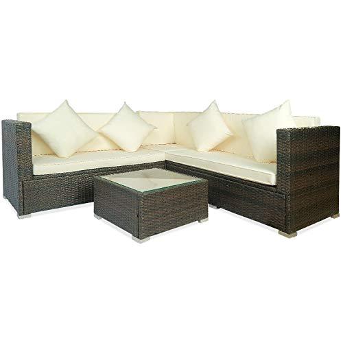 Xiong Xu Sofa, 4 Stück Big Beige Kissen Outdoor PE Rattan Wicker Patio Sofa Schnittmöbel Set Conversation Set -