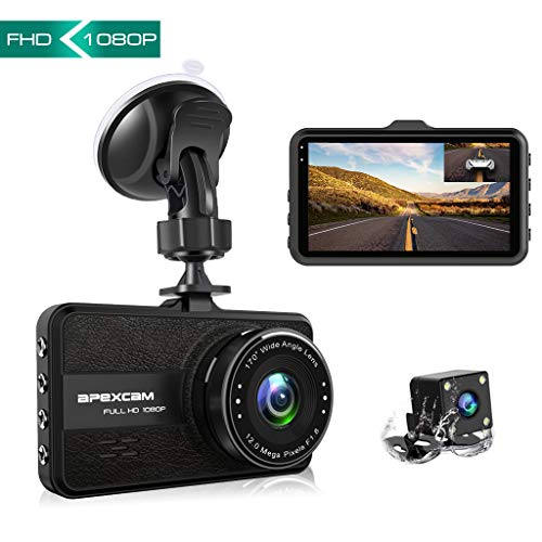 【2019 New】 Apexcam Cámara de Coche Lente Doble Conducir grabadora 1080p FHD...