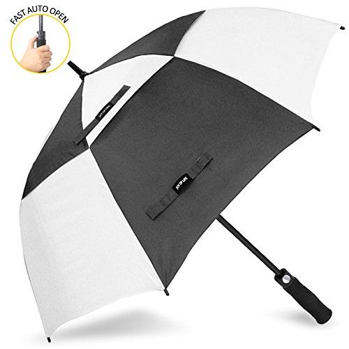 ZOMAKE Golf Regenschirm, Premium Qualität, 157cm Groß, Sturmsicher, Automatik - Automatisch zu öffnen, Regen- und Windresistent Golfschirme(Schwarz/Weiß) (Weiß Regenschirm, Und Schwarz Golf)