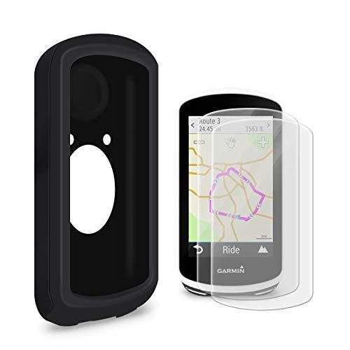 LANMU Schutzhülle für Garmin Edge 1030, Silikon Hülle Cover für Garmin Edge 1030 Fahrradcomputer mit 2er Schutzfolie (schwarz)