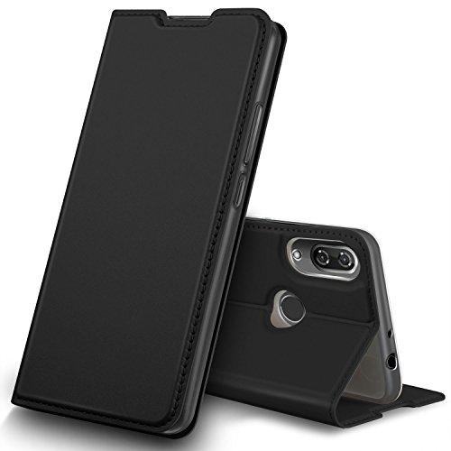 GeeMai Wiko View 2 Hülle, Premium Flip Case Tasche Cover Hüllen mit Magnetverschluss [Standfunktion] Schutzhülle Handyhülle für Wiko View 2 Smartphone, Schwarz Premium Flip Case