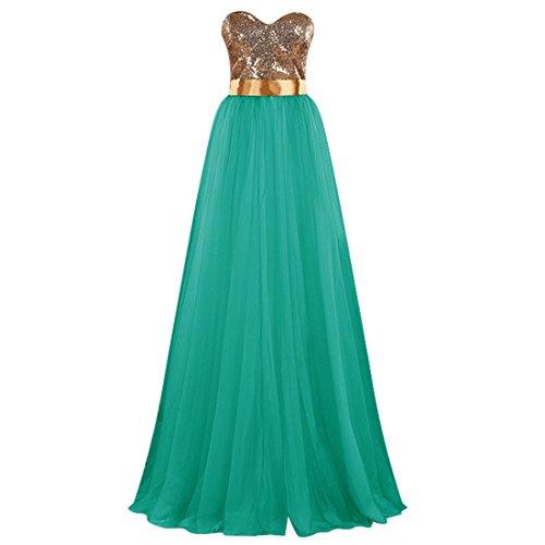 Find Dress Elégant Robe Demoiselle d'Honneur Princesse Colorée Mariée Femme Plissé Jupe Fille Party Anniversaire Robe de Soirée Longue Grande Taille Formelle en Tulle Turquoise
