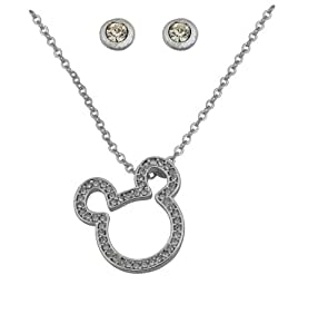 Disney  ladies Silver Plted Chain with Diamante Mickey Mouse Charm plus Silver Plated Diamante Stud Earrings