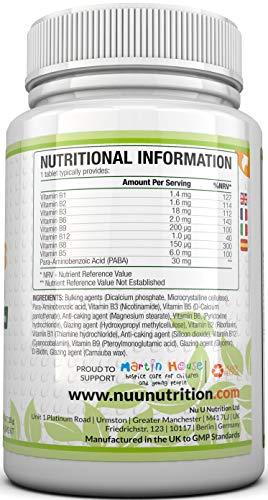 Vitamin B-Komplex – alle 8 B-Vitamine in einer Tablette – Vitamine B1, B2, B3, B5, B6, B12, D-Biotin & Folsäure – 6-Monats-Versorgung – 180 Tabletten – Nahrungsergänzungsmittel von Nu U Nutrition - 7
