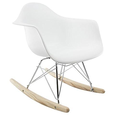 Promo 1 x Fauteuil à Bascule Enfant Inspiration Eiffel Pieds Bois Assise Blanc Mobistyl® RARK-WH-1