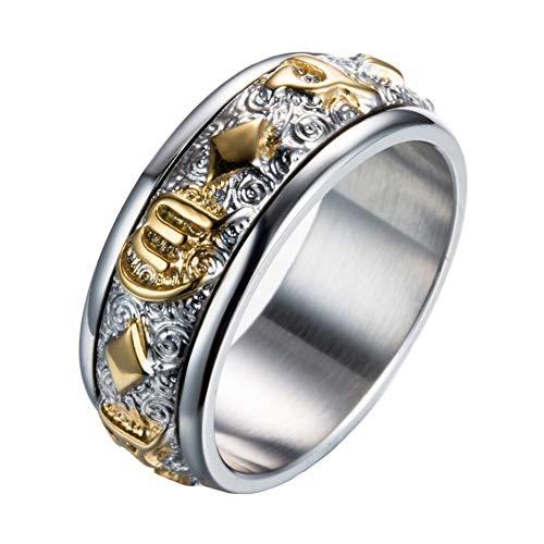 PAMTIER Herren Edelstahl Buddhist Sechs Text Schriften Spinner Ring Gold Größe 54 - Ring Versprechen Herren Gold