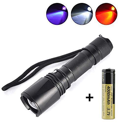 Boruit Zoomable 3 LED Blubs Weiß Rot UV Licht Taschenlampe Jagd Torch Lampe UV Ultraviolett Inspektion Schwarzlicht 3 Modi für Walking, Katze-Hund-Pet Urin-Detektor(Batterie enthalten)