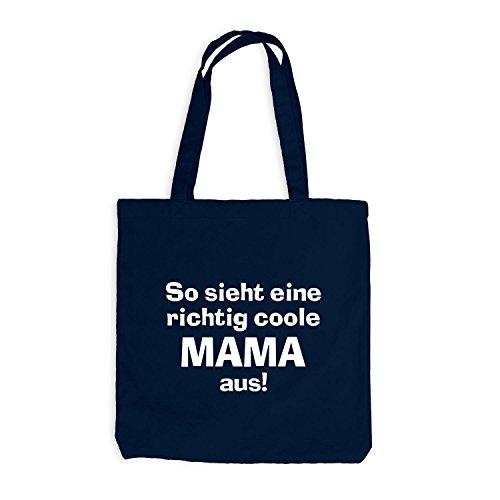 Jutebeutel - Richtig Coole Mama - Family mum Mother Navy