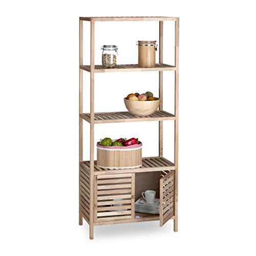 Relaxdays Badschrank Holz mit 5 Ablagen, breites Badregal, Walnuss Regal Bad u. Küche, HxBxT: 160 x 68 x 36 cm, natur -