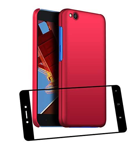 UCMDA Funda Xiaomi Redmi Go con Protector de Pantalla, Carcasa Duro Redmi Go con Cristal Templado - Rojo