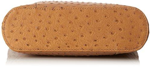 CTM Tasche Damen Leder Schulter Strauß, 28x30x9cm, 100% echtes Leder Made in Italy Mehrfarbig (Cuoio con manico marrone)