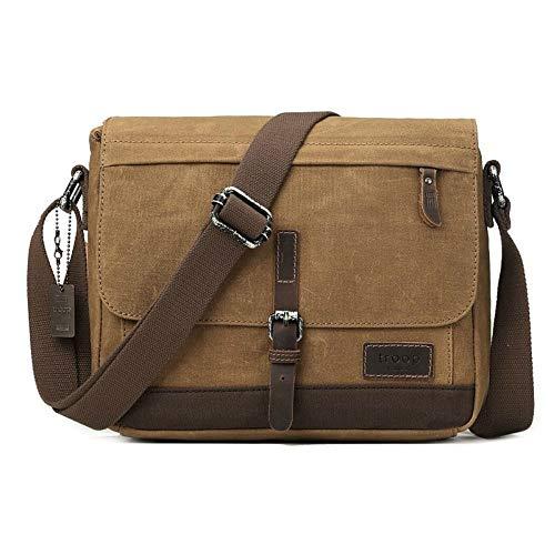 TRP0443 Troop London Heritage Canvas Leather Messenger Bag, Travel Bag, Tablet Friendly (Camel)