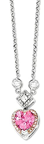 IceCarats 925 Sterling Silver Pink Vermeil Cubic Zirconia Cz Heart Necklace