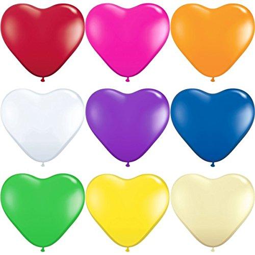 partydiscount24 Herzballons Bunt gemischt Ø 25 cm 25 Stück -