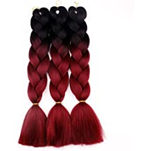 Chiguo 1 Pezzi Jumbo Treccia Hair Extensions di Capelli Sintetici African 24'' / 60cm Colore Sfumato Intrecciare i Capelli Parrucca Braid (Nero-rosso)