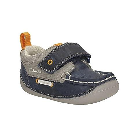 Clarks Boys Cruiser tablier pré Walker chaussure Navy Combi 4½ H