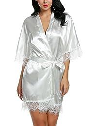 Modfine Pijama Kimono Mujer Picardías Sexy Vestido para Dormir Bata De Satén