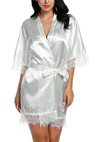 Modfine accappatoio in raso donna kimono da notte satin scollo v pizzo sexy maniche a 3/4 pigiama con cintura blu