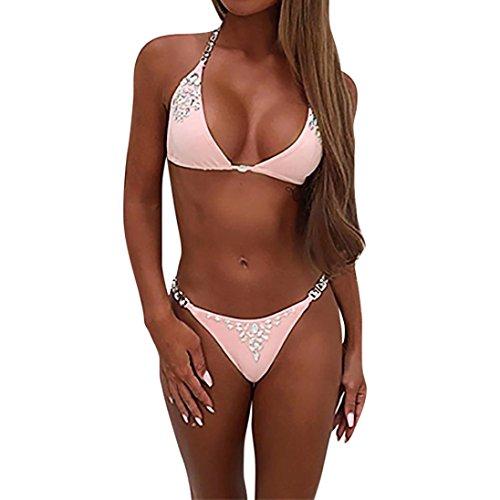 SHOBDW Neueste Womens Hot Drilling BH Bikini Set Push Up Beach Bademode Badeanzug (L, - Kostüm Für Drillinge