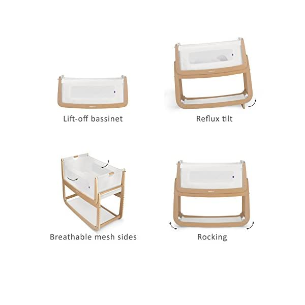 SnuzPod 3 Bedside Crib - Natural Snuz SnuzPod 3 has added functionality, a lighter bassinet and a more breathable sleeping environment. More than just a bedside crib; use as a bedside crib, stand alone crib or moses basket/bassinet. Simply attach the crib to your bed using straps provided (fits frame and divan beds) and your ready use as a bedside crib. The 9 different height settings allow you to ensure the crib is the right height for your bed (31-63cm) New! SnuzPod 3 now comes with an optional reflux function, by tilting the crib and setting an incline to reduce reflux symptoms little one can get a better nights sleep. 3