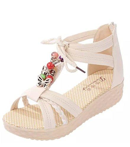 Minetom Sandálias Frisado Senhoras Verão Espiar Toe Sapatos Sandálias De Salto Cunha Estilo Bohemian Escorregar Aleta Resistentes Fracassos Bege