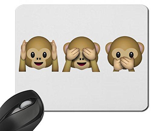 """Preisvergleich Produktbild Mauspad """"Nichts-Böses-Hören-Sehen-Sagen Affen Hoch"""" Drei 3 Affen aus Keramik, Smiley, Emoji, Deko, Kult, Kaffeetasse, Teetasse, IPhone, Emoticons."""