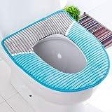 XIAOYANJIA Winter warme gepolsterte Paste magische Schnalle Toilettensitz WC Toilettensitz Toilettensitz Universal WC Sitzkissen, gestreift blau