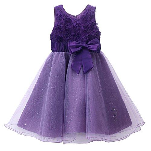 Pettigirl Mädchen Glitter Bogen Kleid Party Hochzeit Pageant Braut Erste Kommunion Tauf kleid 6 Jahre (Prinzessin Glitter Kostüme)
