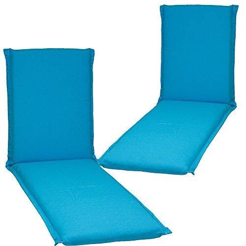 nxtbuy 2er Set Auflage für Gartenliegen Ascot Zip 195x65x8cm mit Reißverschluss - Premium Liegenauflage mit Schaumkern und abnehmbarem Bezug - Sitzpolster für Gartenliegen, Dessin:Türkis