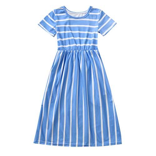 squarex  Mädchen Kurzarm Rock Kleinkind Striped Print Kleid Kinder Kleider Kleidung Baby Casual Rock Komfortables Kleid (Für Tier-print-kleider Junioren)