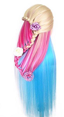Tête à coiffer de cosmétologie 60 cm, cheveux 100% synthétiques couleur arc-en-ciel, pour apprentissage de coiffeur (série blonde)