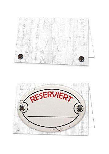 100 Stück retro weiß rote Holz-Optik RESERVIERT-SCHILDER Tisch-Austeller Klapp-Karten kleine Kärtchen für die TISCH-Reservierung der Gäste im Restaurant Hotel 10,5 x 7,2 cm geklappt - Tische Seminar