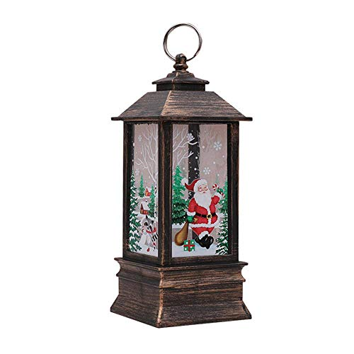 Teepao Weihnachts-Laterne mit LED-Beleuchtung, dekorative Schneeflocken-Lampe, batteriebetrieben, für Innen- und Außenbereich, Weihnachten, Fest-Dekoration L-Bronze-Weihnachtsmann