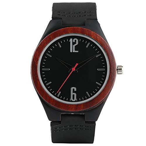 CJYSB Holz Quarzuhr Männer Armreif Lederband Bambus Armbanduhr Frauen Uhren