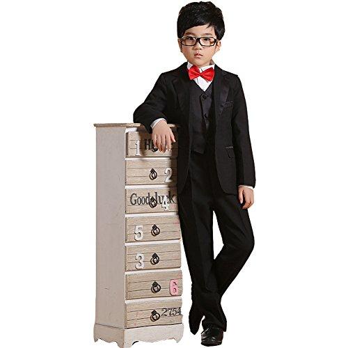 GSCH 2-14T 6-Piece Jungen 'klassische passende formale Klage-Satz (9-10T, Schwarz) (Ghillie Anzug Kostüm Kinder)