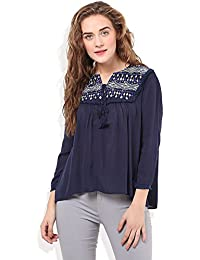 Embroidered Yoke Top With Tussell At Front