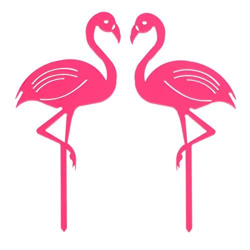 YeahiBaby 2 stücke Kuchendeckel mit Flamingo Form Decor Acryl Cupcake Toppers Picks für Hochzeit Geburtstag Party Kuchen Dekoration Lieferungen (Rosa)
