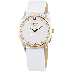 Boccia Women's Quartz Watch with White Dial Analogue Display and White Leather Strap B3227-06