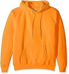 Hanes Mens Pullover Ecosmart Fleece Hooded Sweatshirt, Safety Orange, 3XL