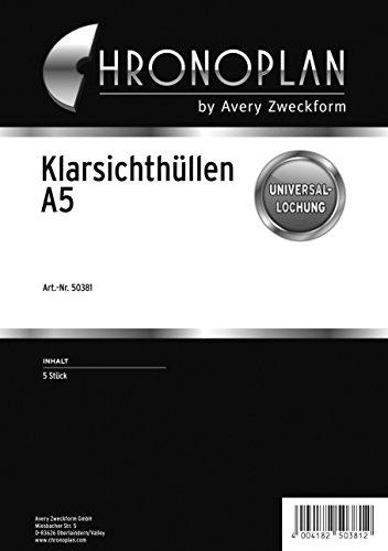Chronoplan 50381 Zubehör Klarsichthülle (A5) 5 Stück, transparent