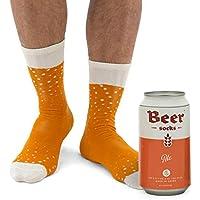 Luckies of London Calcetines de Cerveza, algodón, Color Naranja, Talla única