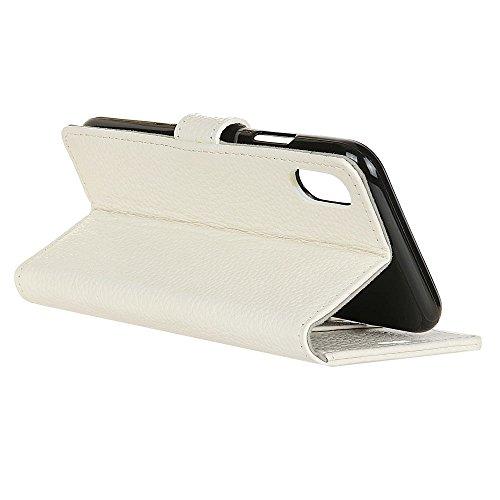 Cover Per iPhone X, Sunrive Custodia con supporto di stand e in pelle artificiale per carte di credito Portafoglio Flip Chiusura Magnetica Protettiva(W 1 busta) Litchi Giallo Marrone