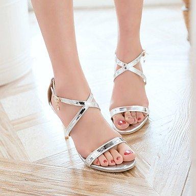 Enochx Donna Sandali Primavera Estate Club scarpe in pelle di brevetto Party & abito da sera Casual Stiletto Heel Silver