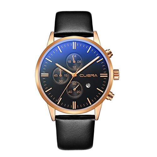 Moretime - Relojes analógicos de Cuarzo para Hombre, de Piel sintética, Color Azul Talla única I