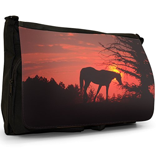 Fancy A Bag Borsa Messenger nero Cowboy On Horse Horse On A Hill At Sunset