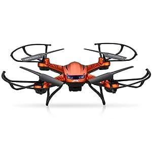 Floureon JJRC H12C RTF Explorers Quadricottero Videocamera 5.0MP 1080P HD 2.4GHz 4CH 6 Axis 2 Batterie Telecomando Drone 360°Rollover Arancio