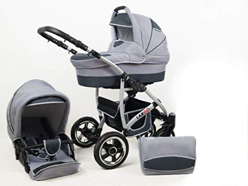 +++ SALE Raff Largo System Kinderwagen Babywagen Buggy, Autositz Kinderwagen System 3 in1 + Wickeltasche + Regenschutz +Insektenschutz (Set 2w1: Wanne + Sportsitz, silver)